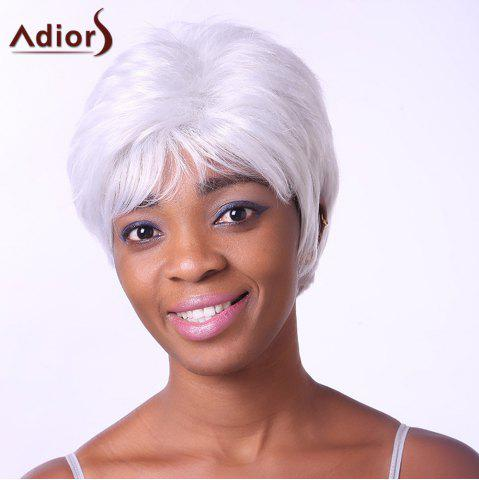 Discount Fashion Short Side Bang Synthetic Fluffy Wavy Silvery White Capless Wig For Elder Women SILVER WHITE