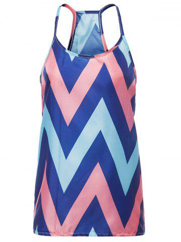 Best Sleeveless Spaghetti Strap Chevron Top - L ORANGE Mobile