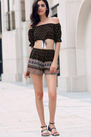 Latest Tiny Floral Print Off Shoulder Crop Top and Shorts Women's Twinset BLACK L