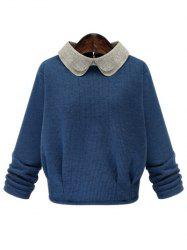 Sweet Peter Pan Collar Monkey Brooch Design Pullover Sweater For Women - DEEP BLUE