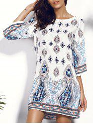 Printed Chiffon Backless Casual Shift Dress