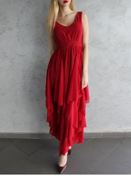 Chic Women's Plunging Neck Pure Color Chiffon Dress - DEEP RED