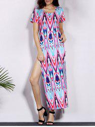 Alluring Short Sleeve Side Slit Printed Women's Dress
