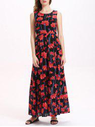 Floral Print Sleeveless Maxi Chiffon Dress - RED M