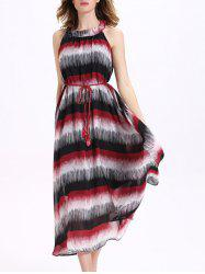 Stripe Long Chiffon Swing Beach Dress - STRIPE