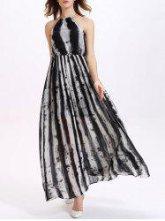 Sweet Chain Embellished Neck Striped Women's Chiffon Maxi Dress