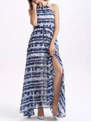 Chiffon Slit Stripe Maxi Swing Dress