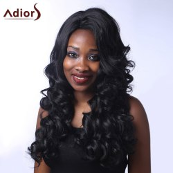 Outstanding Long Side Parting Fluffy Curly Black Synthetic Adiors Wig For Women