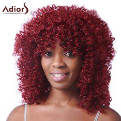 Trendy Red Medium Synthetic Fluffy Afro Curly Capless Wig For Women