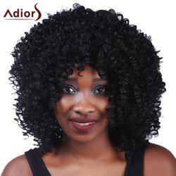 Fluffy Medium Afro Curly Synthetic Vogue Black Capless Adiors Wig For Women