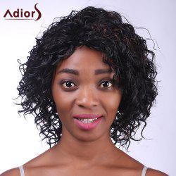 Fashion Deep Brown Highlight Synthetic Fluffy Kinky Curly Short Wig For Women