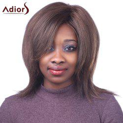 Bouffant Straight Synthetic Fashion Brown Mixed Outstanding Centre Parting Capless Wig For Women -