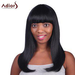 Graceful Full Bang Long Capless Charming Black Glossy Straight Heat Resistant Fiber Women's Wig