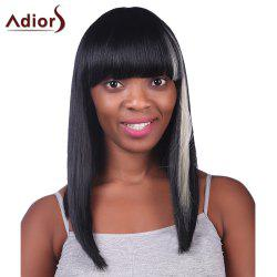 Prevailing Long Silky Straight Capless Stylish Neat Bang Synthetic White Highlight Wig For Women