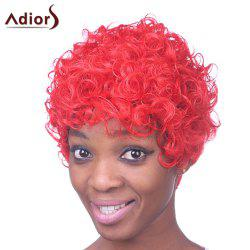 Fashion Short Red Capless Fluffy Curly Inclined Bang Heat Resistant Fiber Wig For Women -