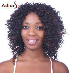 Shaggy Afro Curly Capless Trendy Short Black Brown Mixed Synthetic Wig For Women