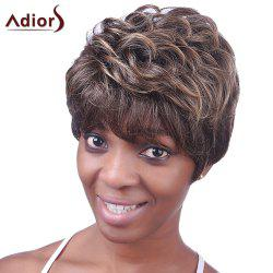 Ultrashort Curly Hairstyle Full Bang Heat Resistant Deep Brown Towheaded Women's Capless Wig