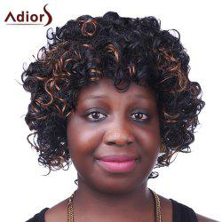 Fashion Fluffy Brown Highlight Sparkling Short Afro Curly Synthetic Capless Wig For Women