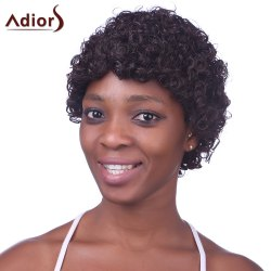Fashion Fluffy Brown Charming Ultrashort Kinky Curly Synthetic Capless Wig For Black Women