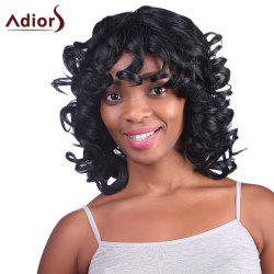 Fashion Fluffy Medium Curly Synthetic Black Capless Adiors Wig For Women - BLACK