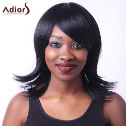 Noble Straight Inclined Bang Capless Black Medium Synthetic Adiors Wig For Women