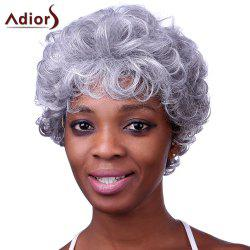 Stylish Silvery Gray Short Capless Fluffy Curly Heat Resistant Synthetic Adiors Wig For Women -