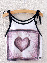 Fashionable Spaghetti Strap Sketch Design Heart Print Women's Tank Top -