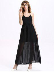Maxi Halter Neck Criss Cross Backless Chiffon Dress