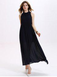 Trendy Ruffled Neck Sleeveless Backless Elastic Waist Women's Chiffon Maxi Dress