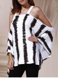 Trendy Cut Out Striped Loose-Fitting Women's T-Shirt -