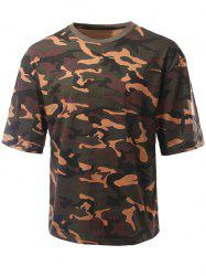 Round Neck Loose-Fitting Camouflage Drop Shoulder Short Sleeve T-Shirt For Men