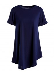 Casual Round Collar Cuffed Sleeve High Low Solid Color Dress For Women