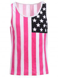 Fashion Round Neck American Flag Print Hit Color Tank Top For Men - RED