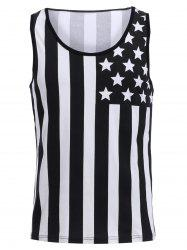 Fashion Round Neck American Flag Print Hit Color Tank Top For Men - BLACK