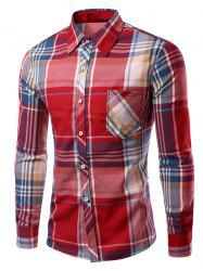 Turn-Down Collar Long Sleeve Checked Print Shirt For Men