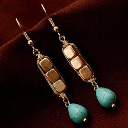 Pair of Ethnic Cube Shape Water Drop Pendant Earrings