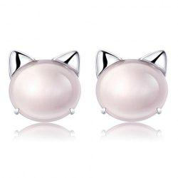 Pair of Alloy Faux Gem Cartoon Cat Stud Earrings