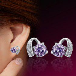 Faux Amethyst Stud Earrings