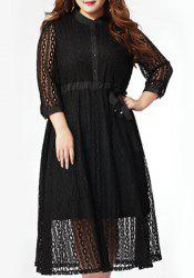 Stylish Plus Size Stand Up Collar 3/4 Sleeve Lace Hollow Out Dress For Women -