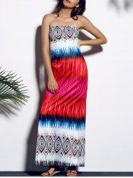 Colorful Sleeveless Strapless Dress -