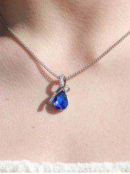 Sparking Waterdrop Rhinestoned Pendant Women's Necklace - DEEP BLUE
