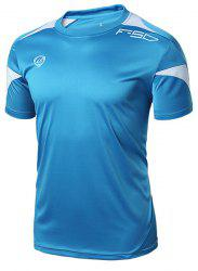 Printing Round Collar Pullover Quick Dry Men's Gym T-Shirt -