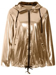 Stylish Long Sleeve Loose-Fitting Golden Hoodie For Women -