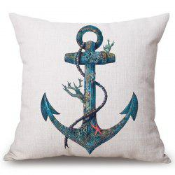 Fashion Old Anchor Pattern Square Shape Flax Pillowcase (Without Pillow Inner) -