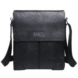 Retro Letter and PU Leather Design Messenger Bag For Men - BLACK