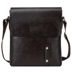 Trendy Dark Color and PU Leather Design Messenger Bag For Men
