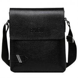 Simple PU Leather and Dark Color Design Messenger Bag For Men - BLACK
