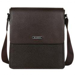 Concise Dark Color and Letter Design Messenger Bag For Men - BROWN