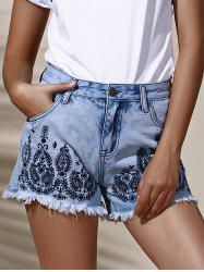 Stylish High Waist Floral Embroidered Frayed High Cut Shorts For Women