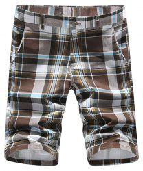 Casual Straight Leg Color Block Plaid Zipper Fly Shorts For Men -